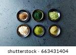 assorted organic super foods.... | Shutterstock . vector #663431404
