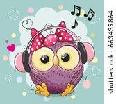 cute cartoon owl girl with... | Shutterstock . vector #663439864
