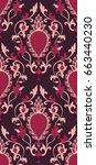 pattern with damask. burgundy... | Shutterstock .eps vector #663440230