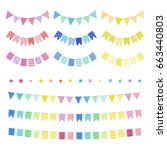 set of hand drawn buntings... | Shutterstock .eps vector #663440803