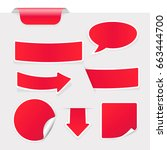 red stickers on gray background....   Shutterstock .eps vector #663444700