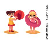 two little girls playing on... | Shutterstock .eps vector #663447538