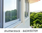 window sliding and mosqito... | Shutterstock . vector #663450709