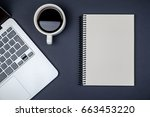 minimal workplace with laptop... | Shutterstock . vector #663453220