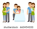 cute cartoon young couple... | Shutterstock .eps vector #663454333