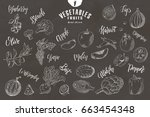 doodle elements of fruit and... | Shutterstock .eps vector #663454348