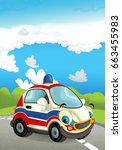 cartoon ambulance car smiling... | Shutterstock . vector #663455983