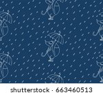 seamless pattern with foxes and ... | Shutterstock .eps vector #663460513