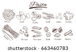 italian pasta set. different... | Shutterstock .eps vector #663460783