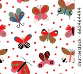 cute vector texture with... | Shutterstock .eps vector #663464494