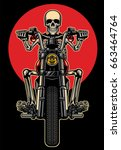 skull riding motorcycle | Shutterstock .eps vector #663464764
