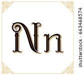 vector vintage font. letter n... | Shutterstock .eps vector #663468574