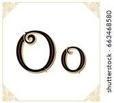 vector vintage font. letter and ... | Shutterstock .eps vector #663468580