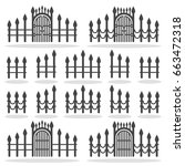 fence gates icon set  vector... | Shutterstock .eps vector #663472318