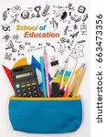 student pencil bag or pencil... | Shutterstock . vector #663473356