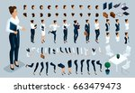 large isometric set of gestures ... | Shutterstock .eps vector #663479473