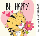 be happy greeting card tiger...   Shutterstock .eps vector #663481468