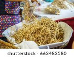 fried taro crispy chip  thai... | Shutterstock . vector #663483580