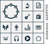 multimedia icons set.... | Shutterstock .eps vector #663495793