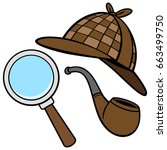 detective hat  pipe  and...   Shutterstock .eps vector #663499750