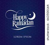 happy ramadan blue background...   Shutterstock .eps vector #663500164