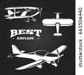 white airplanes collection on... | Shutterstock .eps vector #663506440