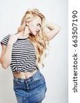 young pretty stylish blond... | Shutterstock . vector #663507190