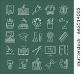 education icons set. outline... | Shutterstock .eps vector #663514003