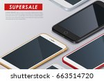 super sale phone banner. mobile ... | Shutterstock .eps vector #663514720
