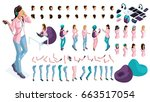 large isometric set of gestures ... | Shutterstock .eps vector #663517054