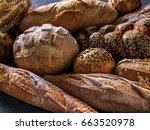 different kinds of bread on... | Shutterstock . vector #663520978