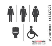 set of restroom icons including ... | Shutterstock .eps vector #663527278
