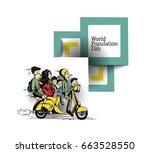 world population day  hand...   Shutterstock .eps vector #663528550