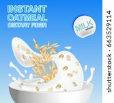 oatmeal with milk  pouring the... | Shutterstock .eps vector #663529114
