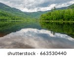 landscape of lake with... | Shutterstock . vector #663530440
