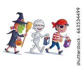 trick or treating kids | Shutterstock .eps vector #663534499