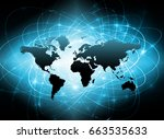 world map on a technological... | Shutterstock . vector #663535633