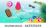 summer tropical background with ... | Shutterstock .eps vector #663535654