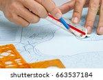 blueprint landscape architect... | Shutterstock . vector #663537184