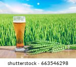 glass of cold beer at sunset on ... | Shutterstock . vector #663546298