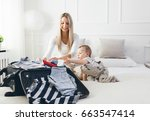 travelling with kids. happy... | Shutterstock . vector #663547414