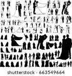 silhouette wedding bridegroom... | Shutterstock .eps vector #663549664