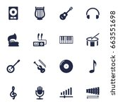 set of 16 song icons set... | Shutterstock .eps vector #663551698