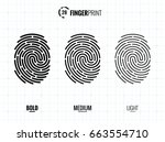 vector fingerprint icons set ... | Shutterstock .eps vector #663554710