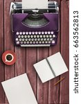 typewriter on wood table with... | Shutterstock . vector #663562813