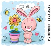 greeting card cute cartoon... | Shutterstock . vector #663565258