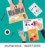 hands with laptop and... | Shutterstock . vector #663572050