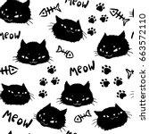 black cats  fish bones and... | Shutterstock .eps vector #663572110
