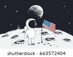 cute astronaut sets a flag of... | Shutterstock .eps vector #663572404