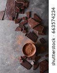 chocolate  chunks and cocoa... | Shutterstock . vector #663574234